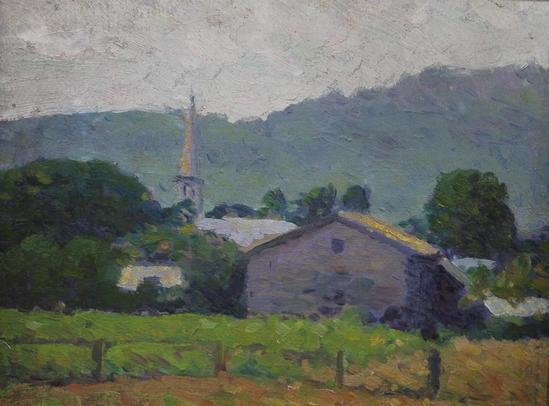 Small Original New England Town Landscape Impressionist