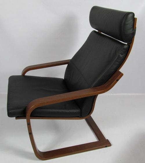 Ikea Poang Chair Living Room: Ikea POANG Black Leather & Dark Brown Chair And Foot Rest