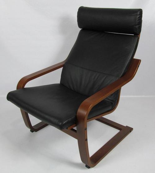 Ikea Poang Black Leather Amp Dark Brown Chair 400 239 43