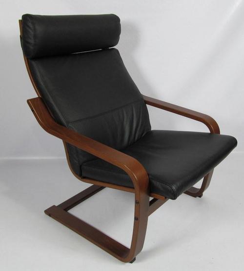Ikea Poang Chair Living Room: Ikea POANG Black Leather & Dark Brown Chair (400.239.43