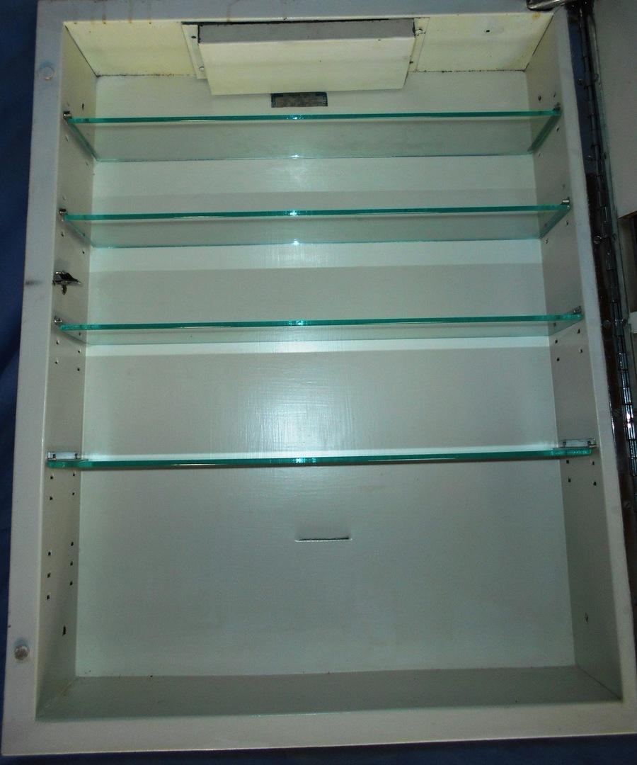 Vintage mirrored bathroom medicine cabinet w glass shelves - Mirrored bathroom cabinet with lights ...