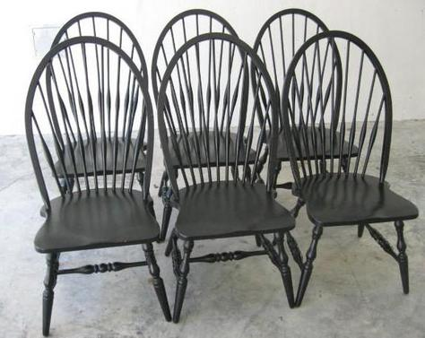 6 Pottery Barn High Back Solid Oak Windsor Dining Chairs