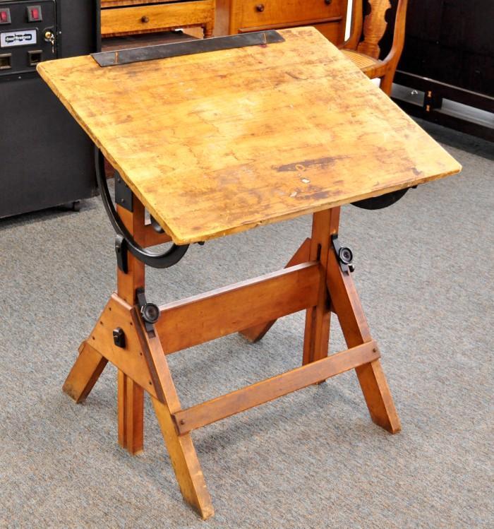 Antique Hamilton Economy Drafting Table Wood Cast Iron