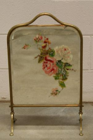 Victorian Brass Handpainted Mirror Fireplace Screen Uk Ebay