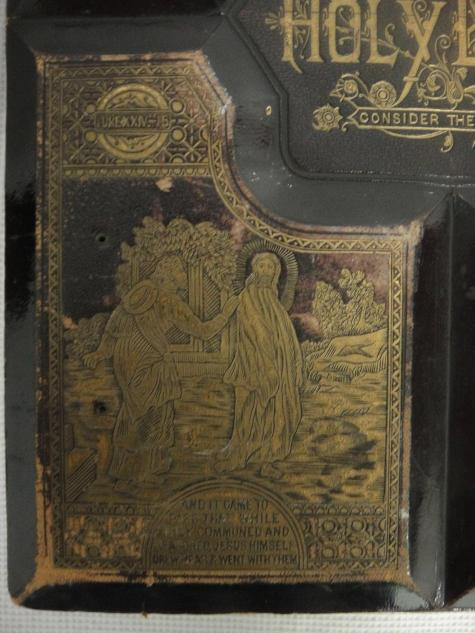 Vintage Leather Look Jeremiah Verse Bible Book Cover Large: Antique 1800's Holy Bible Copyright 1881 Revised Leather