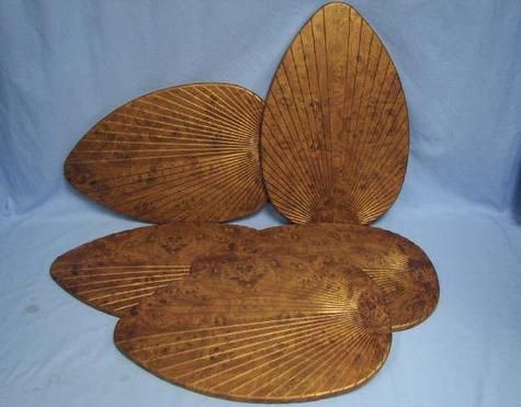 set of five 5 palm leaf tropical style ceiling fan blade covers burl ebay. Black Bedroom Furniture Sets. Home Design Ideas