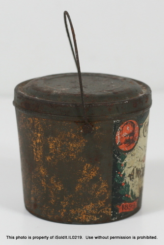 Antique christmas peanut butter tin jar pail w lid for Christmas tin pails