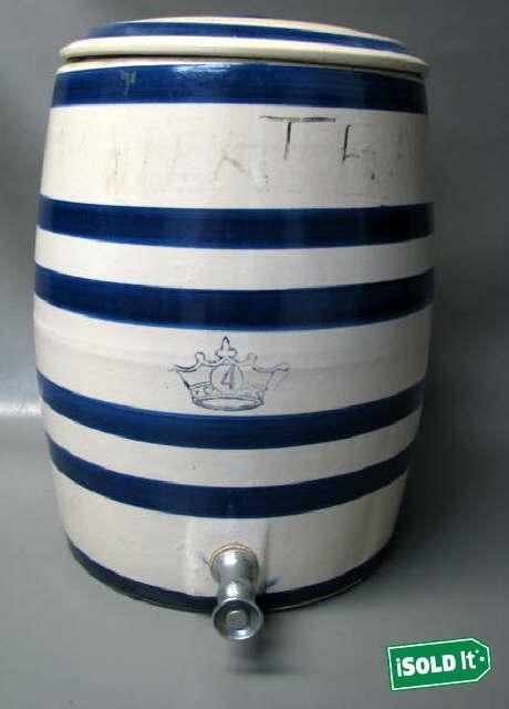 Antique Crown 4 Gallon Stoneware Water Jug Cooler Crock