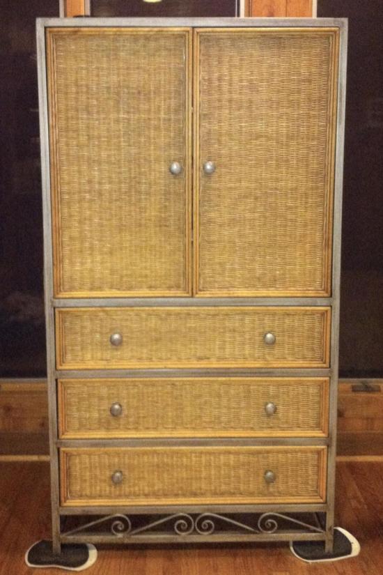 large wicker metal armoire entertainment center dresser drawers 66 5 natural. Black Bedroom Furniture Sets. Home Design Ideas