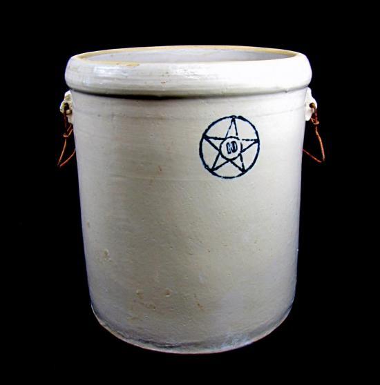 Vintage 10 Gallon Stoneware Glazed Crock Cobalt Blue Star