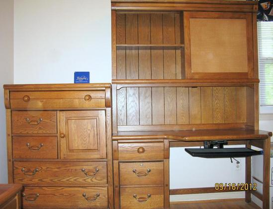 Lexington furniture oak locker room bedroom suite desk - Used lexington bedroom furniture ...