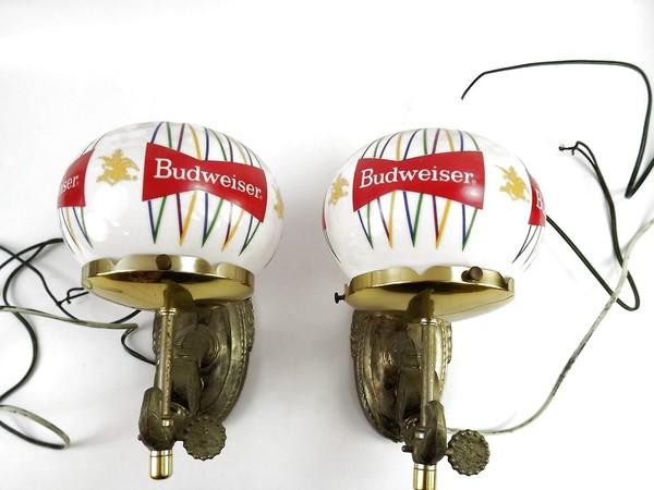 Vintage Budweiser Beer Wall Hanging Glas Globe Scones Lamp