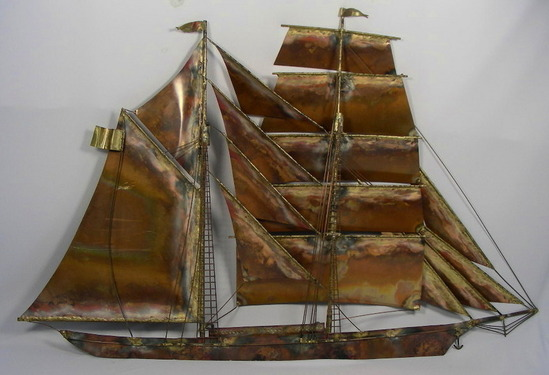 LARGE SAILING SHIP METAL WALL SCULPTURE