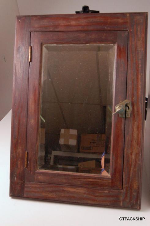 antique wood medicine cabinet w beveled mirror rustic. Black Bedroom Furniture Sets. Home Design Ideas