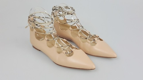 Womens Coach Justine Nude Leather Lace Up Pointed Toe Flats Shoes Size 9.5