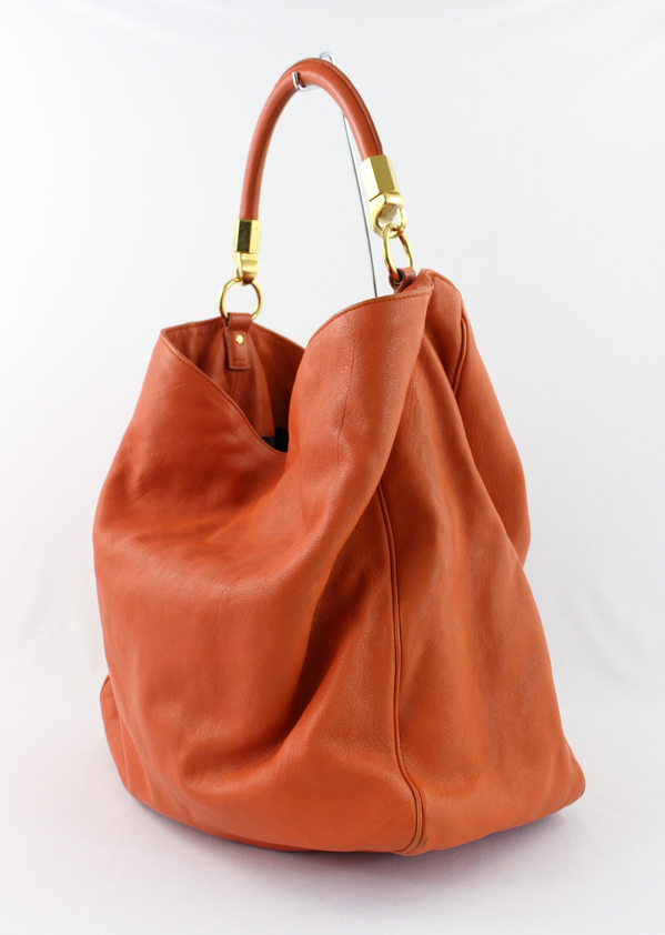 Ysl Yves Saint Laurent Orange Leather Roady Handbag