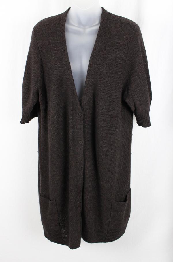Eileen Fisher Women's Dark Brown Short Sleeve Vneck Cardigan ...