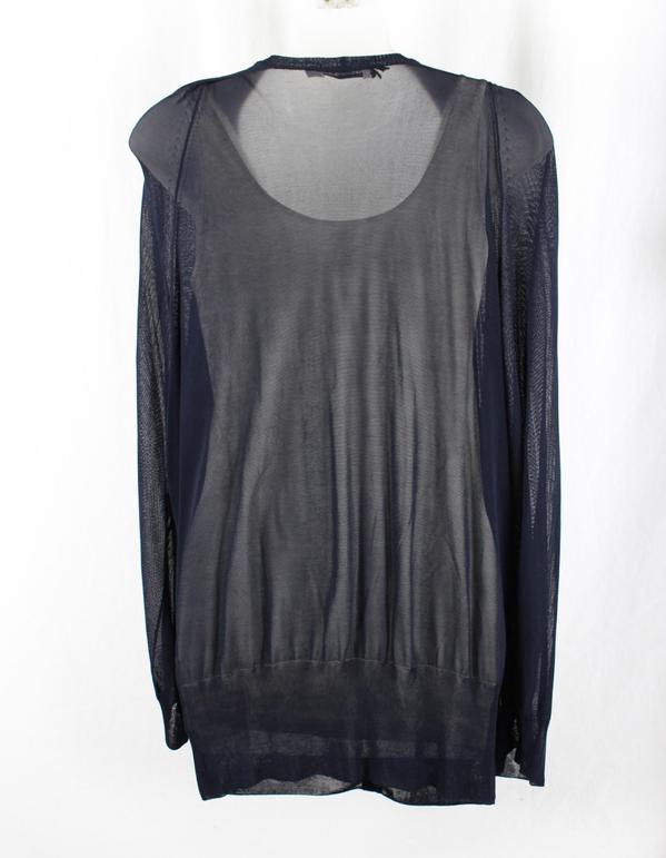Jil Sander Women's Navy Blue Vneck Sheer Knit Cardigan Sweater Top ...