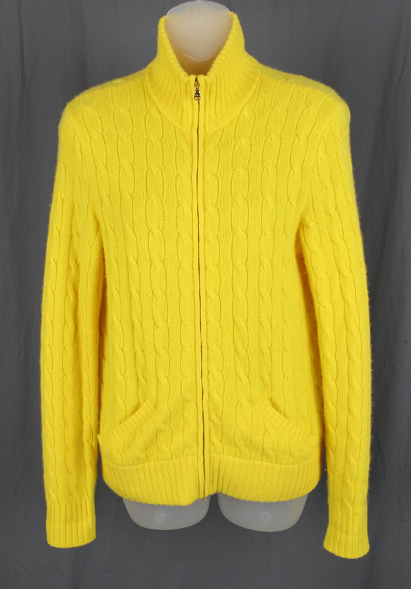 Ralph Lauren Black Label Yellow Cable Knit Full Zip Sweater Jacket ...