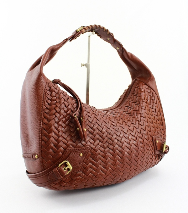 COLE HAAN BROWN WOVEN LEATHER HOBO STYLE SHOULDER STRAP . f0dcf2301099e