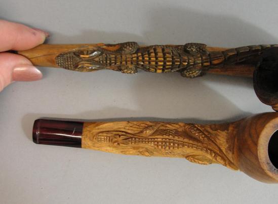 6 Antique Folk Art German Black Forest Carved Wood Tobacco