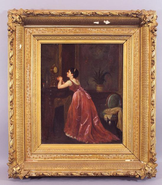 19thc Antique O C Oil Painting Victorian Lady Amp Gold Gilt