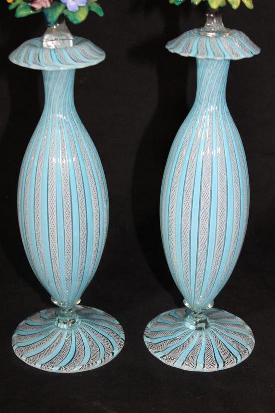 Antique Hand Blown Italian Ribbon Latticino Art Glass Perfume Bottles Powder Jar Ebay