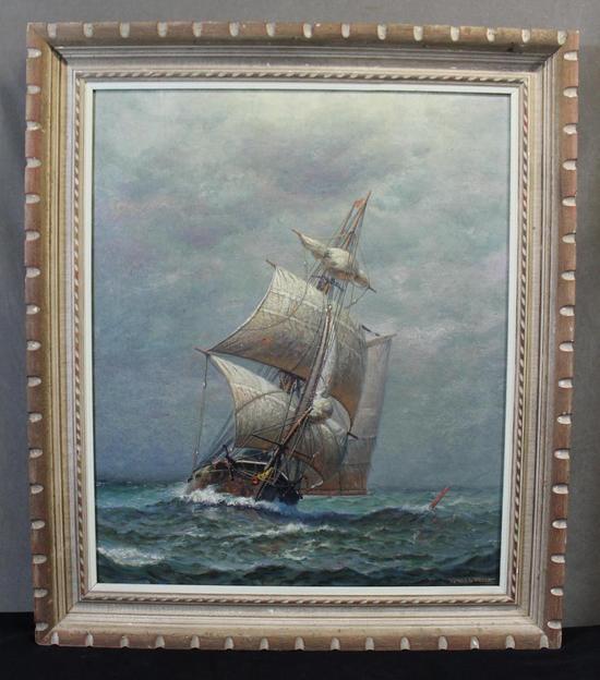 Antique Early 20thc James G Tyler Maritime 2 Mast