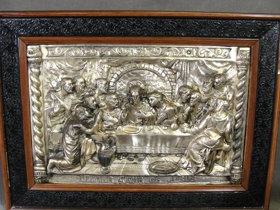 Antique Detailed Silver On Copper Spanish Relief Icon The