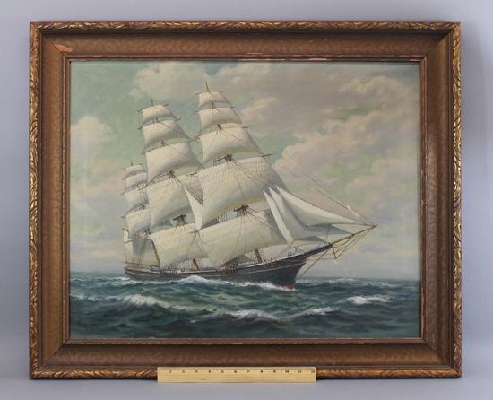 Authentic Antique Signed T Bailey Nautical Maritime Oil